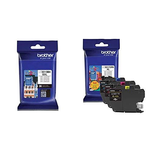 Brother LC3019BK Super High Yield Black Ink Cartridge & Printer LC30173PK High Yield XL 3 Pack Ink Cartridges- 1 Ea: Cyan/Magenta/Yellow Ink