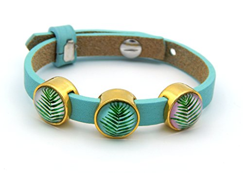 Damen-Armband Lederarmband Türkis 8mm breit 16-20 cm lang mit 3 Cabochons Blätter Wedel Tropical Echtleder gold-farbig