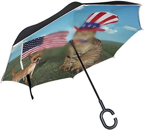 Paraguas invertido de la bandera americana del perro del gato del inconformista,paraguas reversible del coche del sol del sol del viaje de la prueba de los rayos UV del mango en forma de C