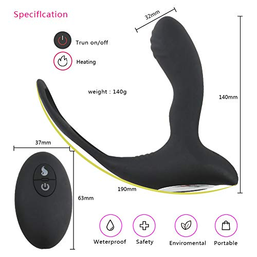 Rabusion Health For Anal Sex Toys Prostate Massager Male Vibrators Penis Ring 10-Vibration Mode Wireless Remote Control Vibrator Rechargeable Waterproof P-spot Vibrating for Men and Couples