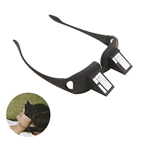 Tera® Gafas de Prisma Visión Horizontal para Relajamiento Gafas de Periscopio para Lectura de Libro y Televisión para la Cama (Negro)