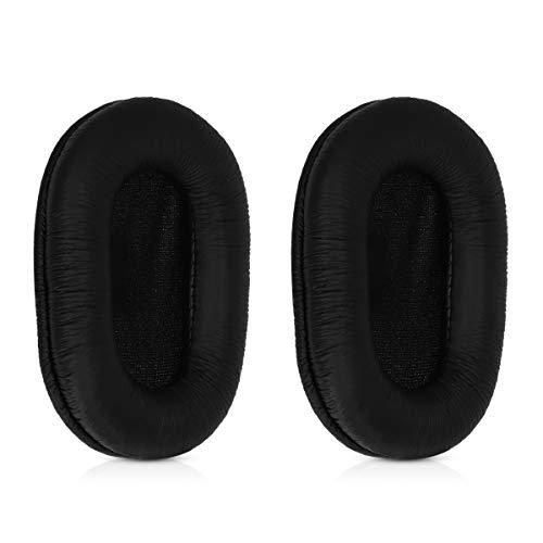 kwmobile 2x Auricolari di ricambio compatibile con Sony MDR-7506 / MDR-V6 / MDR-CD900ST - Cuscinetti sostitutivi cuffie Over Ear in similpelle per Headphones - nero