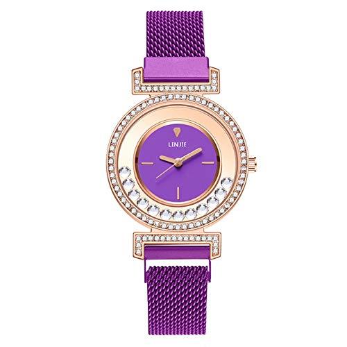 JZDH Relojes para Mujer Relojes de Mujer Moda Diamante Imán Hebilla Cuarzo Reloj de Cuarzo Vestido Reloj Reloj Reloj de Pulsera Relojes Decorativos Casuales para Niñas Damas (Color : Purple)