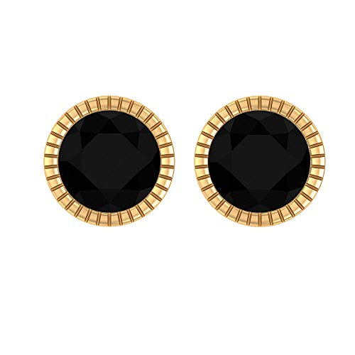 5 MM Black Onyx Stud Earrings, Solid Gold Engraved Round Earrings for Women, Screw Back Earrings, Solitaire Ear Studs, 14K Yellow Gold, Pair