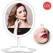 BESCHOI LED Kosmetikspiegel, 1X/5X Vergrößerung, USB wiederaufladbarer, Touchschalter mit Dimmfunktion, Rotierbarer Schminkspiegel für Schminken und Rasieren, Abnehmbar