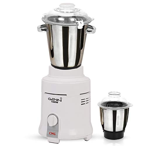 Gemini Mixer Grinder for Hotel, 1600-watts, Commercial Heavy Duty and Hi-Tech 100% Copper Motor with 2 Stainless Steel Jars, White Restaurants Catering Hotels Food Industry Heavy Home Usage