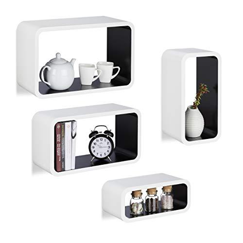 Relaxdays Étagère flottante murale 4 cubes rectangles en MDF compartiment coloré coins arrondis, blanc-noir