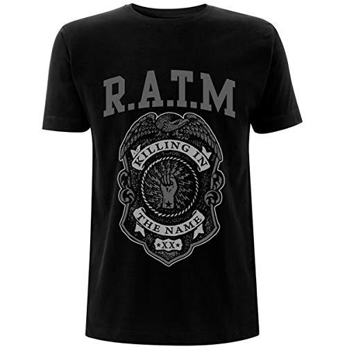 T-Shirt # M Unisex Black # Grey Police Badge
