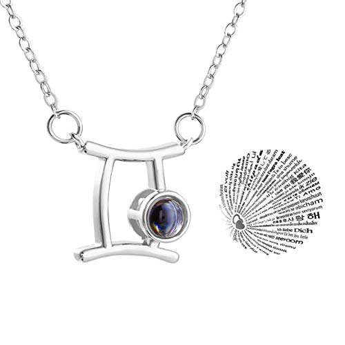 Zealmer Cyberny Gemini Sign Pendant 100 Language Love Necklace 16K White Gold Plated