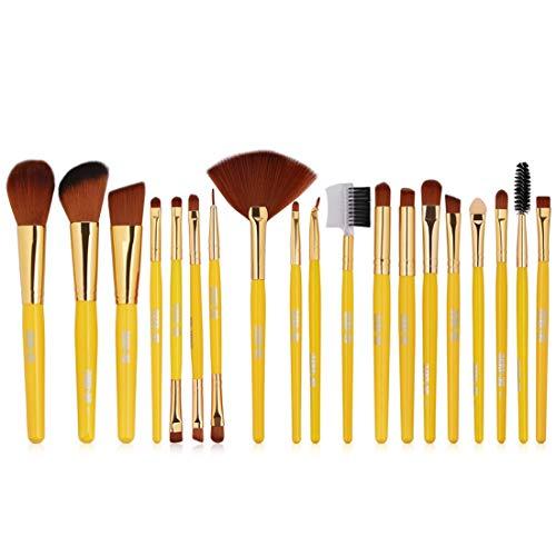 BXGZXYQ Maquillage pinceaux 26 Pcs Premium Kabuki Synthétique Fondation Mélange Fard À Paupières Visage Brosse Set Fibre Cheveux Brosse (Couleur : Jaune)