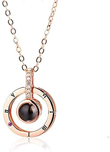 Ahuyongqing Co.,ltd Necklace Necklace Rose Gold & Silver Color 100 Languages I Love You Projection Pendant Necklace Romantic Love Memory Wedding Necklace for Women Men Gifts