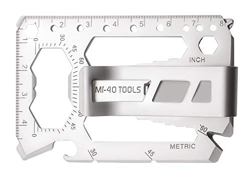 MI-40 TOOLS Ultimate Credit Card Multitool Wallet With Money Clip | 40-In-1 Multipurpose, Multifunction Toolcard With Slim Minimalist Design | Includes Can  Bottle Opener, Screw Driver  Much More