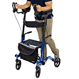 Vive Mobility Upright Walker - Rollator with Seat and Armrests - Stand Up Folding Heavy Duty for Seniors, Elderly, Handicap - Walking Assist, Lightweight and Foldable Transport Chair (Blue)