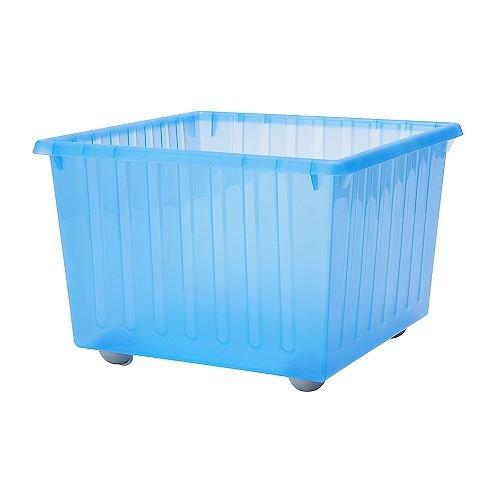 IKEA VESSLA - caja de almacenaje con ruedas, azul - 39x39 cm