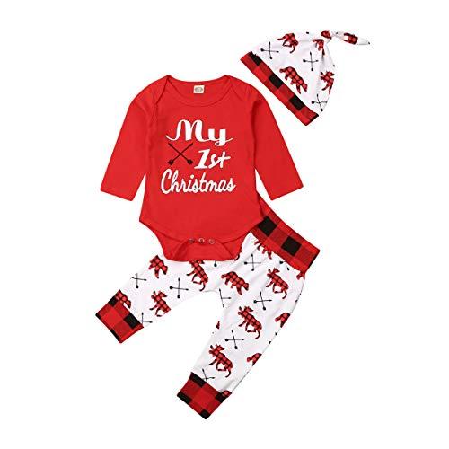 Carolilly 3 Pezzi Completini Neonato Natale Unisex Pagliaccetto Neonato Invernale +Pantaloni+Cappello