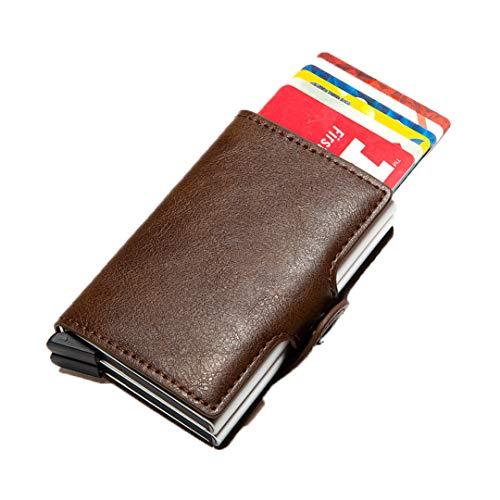 Titular de la Tarjeta de crédito Anti RFID de la Fibra de Carbono Hombre del Titular de la Tarjeta de Aluminio del Metal de la Caja del Banco del Banco Minimalista Coffee B9768