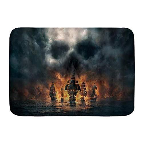 XWJZXS Alfombrillas de baño Antideslizantes, Barco Fantasma, Tema embrujado náutico, Pirata, velero, hundimiento en el mar, Peligro del Cielo, Escena aterradora, Fuego, Alfombra de baño ,