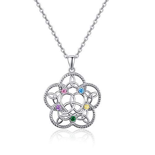 TANGPOET Chakra Necklace for Women Sterling Silver Celtic Pendant Healing Crystal Stones Protection Jewelry Mom Gift for Mother Daughter …