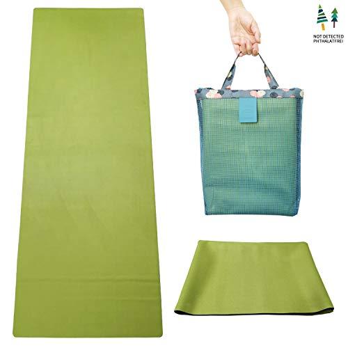 GOLDEN® tappetino da yoga da viaggio antiscivolo 1/16 pollici – 1,5 mm sottile lavabile asciugamano pieghevole 2 in 1 in gomma naturale con borsa per il trasporto, XL 183 cm x 68 cm