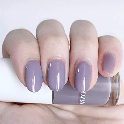 CSCH Faux ongles Coffin False Nails Ballerina Short Fake Nails Glossy Stick on Nails Full Cover Acrylic False Nail Tips 24pcs for Women and Girls(Grey Purple)
