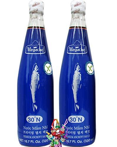 yoaxia ® - 2er Pack - [ 2x 500ml ] Megachef PREMIUM Anchovy-Fischsauce [ glutenfrei ] und ohne Glutamat + ein kleines Glückspüppchen - Holzpüppchen