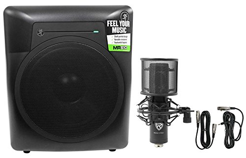 Great Deal! Mackie MRS10 10 120w Powered Studio Subwoofer Sub+Condenser Mic+Mount+Filter
