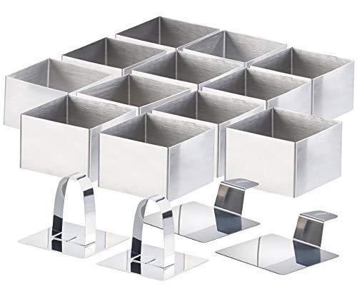 Rosenstein & Söhne Dessertring-Set: 12 Dessert-/Speiseringe 7,5 x 7,5 x 5 cm, eckig, mit Heber & Stampfer (Speisering-Sets)