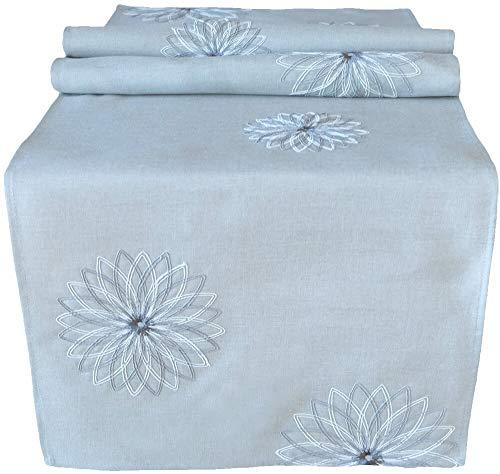 matches21 HOME & HOBBY tafelloper midden cover tafel linnen beige met geborduurde grijze bloemen & borduurwerk rand 40x140 cm