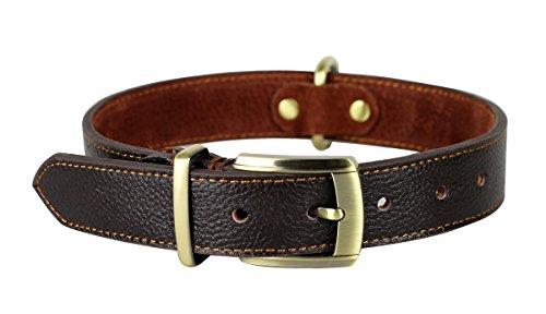 Rantow cuoio molle Collare regolabile per cani, formato del collo 43 centimetri per 53 centimetri e largo tre centimetri, duro collare di cuoio a mano marrone medio / cani di taglia grande