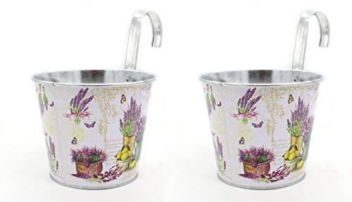 DARO DEKO Metall Hängetopf - Ø 15cm x 13cm Lavendel 2 Stück