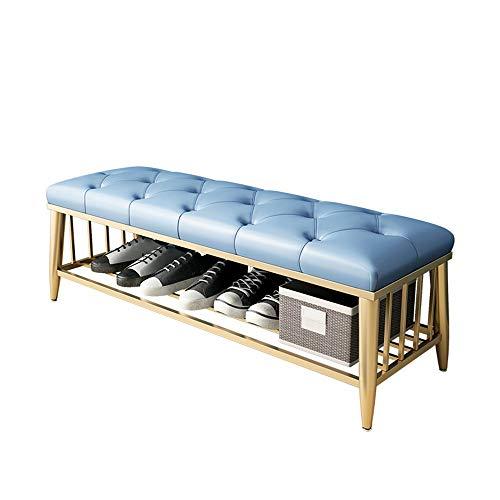 ZAGO Escabel con Base metálica de imitación de Cuero de Bench Botón Decorativo copetudo Zapatos Bench w/Tapa Superior del tirón (Color : Azul, tamaño : 120X35X45CM)