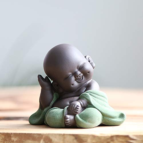 Kingzhuo Ceramic Little Cute Buddha Statue Monk Figurine Creative Baby Crafts Dolls Ornaments Gift Classic Delicate Ceramic Arts and Crafts Tea Accessories 2.8'' Inches High (Green)