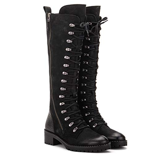 Vintage Foundry Co. Henrietta Women's Fashion Classic Combat Gothic Black Leather Lace-up & Side Zip-up Mid-Calf Boots, Round-Toe, Chunky Heel Platform, Rubber Lug Sole, Size 10