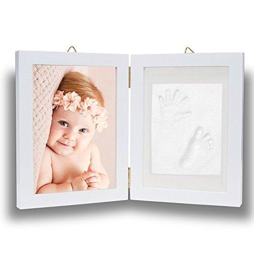 Pootack Cadre Empreinte Bébé Cadre de Photo pour Souvenir la Naissance de Bebe et Enregistrer les Empreintes du Pied et Main de Bébé - Blanc (Un cadre un empreinte)