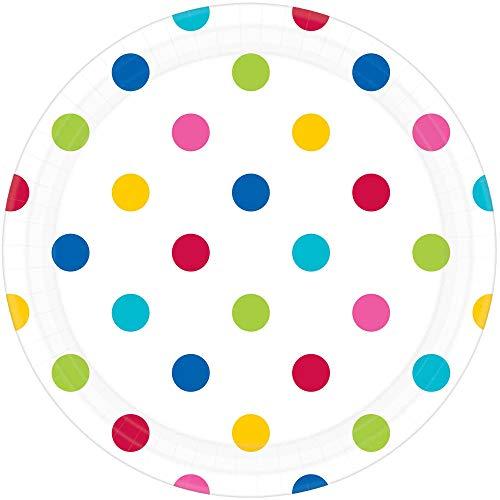 Amscan International 551537–90 23 cm Rainbow Dots Plaque de Papier