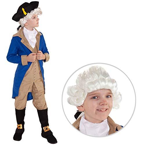 Disfraz del Presidente George Washington para nios, Traje histrico, Talla S (5-7 aos)