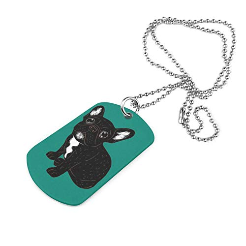 SHARP-Q Cute Brindle Frenchie Puppy Unisex Military Dog Tag Fashion Necklace Pendant Jewelry Gift