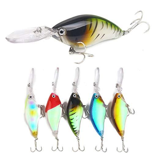 NINAINAI Conjunto De Cebos Metálicos Bajo Buceo Crankbait Bass Trout Fishing Lure Switebait Wobble Hard Baits 5pcs / Set Fishing Seure Herramientas De Cebo (Color : Multi-Colored, Size : 11cm)