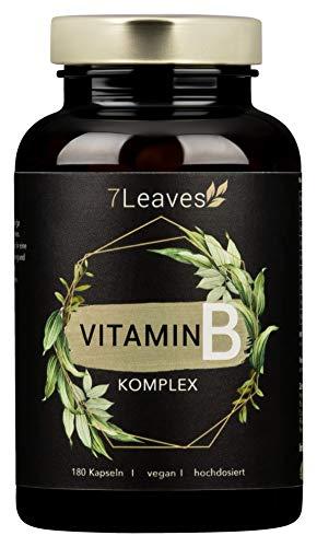 Vitamin B Komplex VEGAN- mit bio-aktiven Vitamin B-Formen - 180 vegane Kapseln ohne künstliche Zusätze - 7Leaves