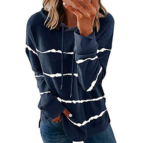 Camiseta de manga larga para mujer, informal, cuello en V, diseño de rayas, estilo retro, con capucha, talla grande, #1_azul, S