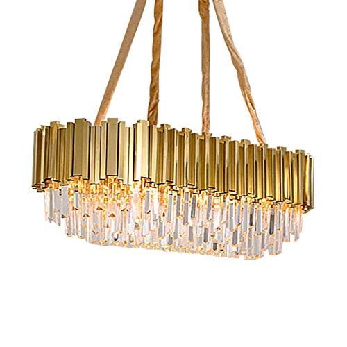 CX Lujas Cristalinas de Lujo Lámpara de Iluminación Moderna, Luminosas de Techo de Cristal de Oro E14 Luces Colgantes Ajustables Decoración para el Hogar para Sala de Estar Comedor-