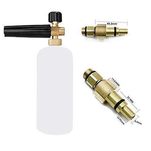 Espuma para nieve Espuma de jabón para el lavado de autos Lance con boquilla de espuma ajustable, botella dispensadora de jabón y adaptador de hilo para lavadora de presión LAVOR, Parkside