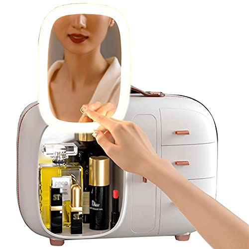 YXYH 360° Rotation Mirror Makeup Organizer Countertop Cosmetic Storage Box Mirror Glass Beauty Display Large Capacity Holder for Brushes Lipsticks Skincare Toner (Color : White)