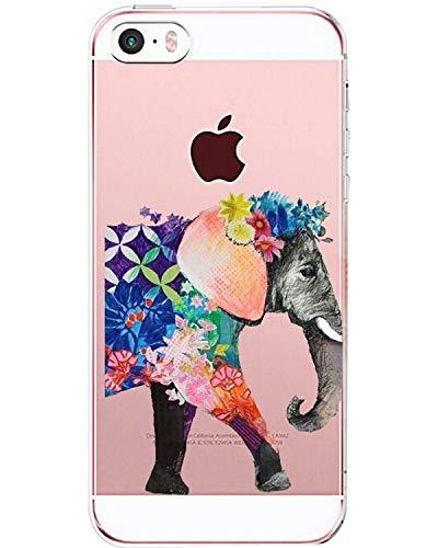 Alsoar - Carcasa Protectora de TPU para iPhone SE/5S, Suave, Ultrafina, Resistente a los Golpes y a los arañazos Elefant 1 Medium
