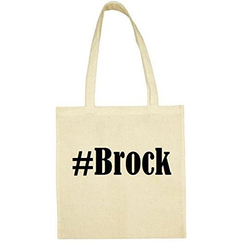 Tasche #Brock Größe 38x42 Farbe Natur Druck Schwarz