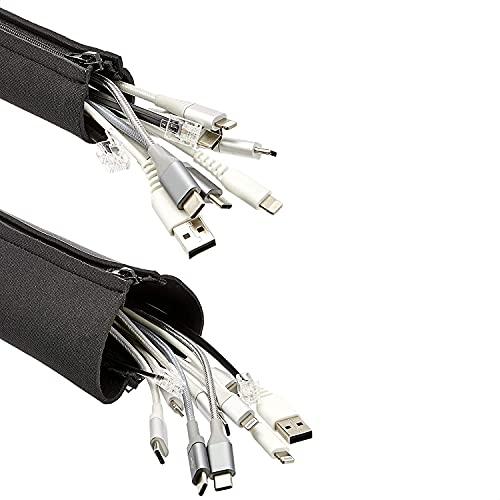 AmazonCommercial - Fundas ajustables para gestión de cables, de neopreno, con cremallera,...