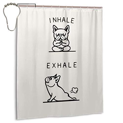Inhale Exhale Frenchie Shower Curtains Waterproof Bathroom Shower Curtain Set with Hooks Heavy Duty Fabric Bath Curtain for Bathtub Showers Bathroom Decor 60' W X 72' H