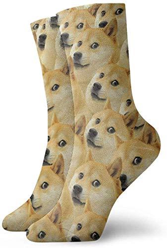 N / A Divertido Doge Emoticon Shiba Inu Crew - Calcetines deportivos para hombre y mujer, 30 cm