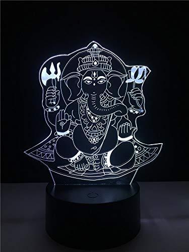 Decoración única del hogar creativo elefante tailandés Buda lámpara de mesa 3D regalo LED USB control remoto de humor colorida luz nocturna multicolor