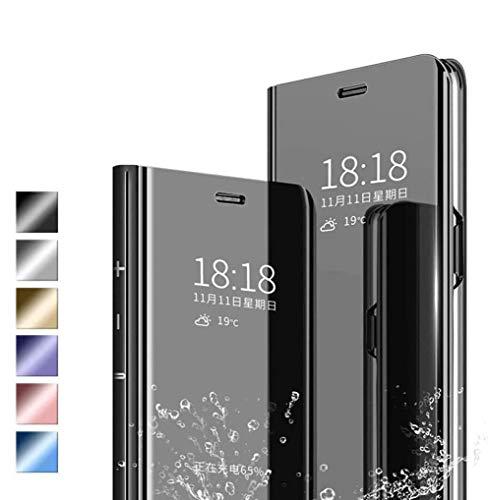 Jierich Funda para Samsung Galaxy A22 4G Carcasa, Ultra Slim Espejo Funda Flip Inteligente, Soporte Plegable, [Anti-Rasguños] Case Cover para Samsung Galaxy A22 4G-Negro